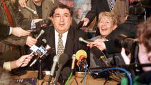 John Hume and his wife Pat at the Foyle Arts Centre in Londonderry after hearing that he and David Trimble were to share the Nobel Peace Prize