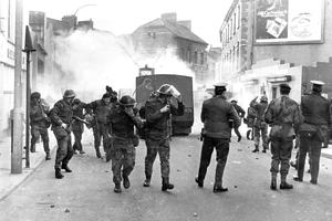 Soldiers in William Street on Bloody Sunday