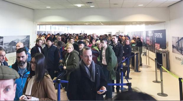 Queues inside Belfast International Airport
