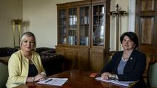 First Minister Arlene Foster and Deputy First Minister Michelle O'Neill. (Liam McBurney/PA)