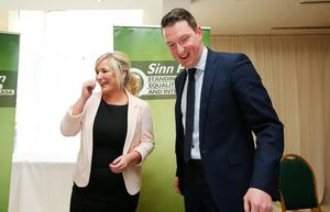 John Finucane with Sinn Fein's northern leader Michelle O'Neill at last night's North Belfast Selection Convention in the Lansdowne Hotel