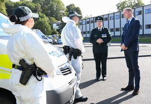 William with Chief Constable Simon Byrne speaking to members of the PSNI Covid-19 response unit (Tom Rooke/PA)