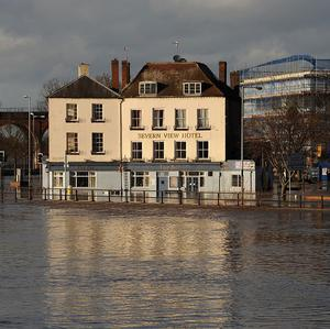 The Severn View Hotel is pictured along the River Severn in flood-hit Worcester