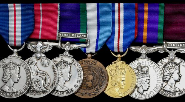 The medals of Sergeant Anthony Haw who was a member of the 14th Intelligence Company, which included murdered Captain Robert Nairac among its ranks during the Troubles