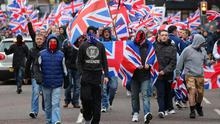 Loyalists take part in a flag protest at Belfast City Hall