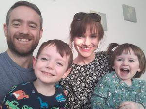 Patrick Livingstone with wife Grainne and their children Dara and Eva