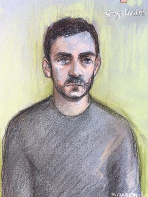 A court sketch of lorry driver Maurice Robinson