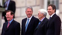 David Trimble, Bill Clinton, Seamus Mallon and Tony Blair at Stormont in 2000