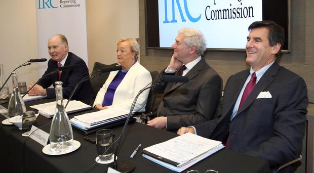 Members of the Independent Reporting Commission (from left), Tim O'Connor, Monica McWilliams, John McBurney and Mitchell Reiss