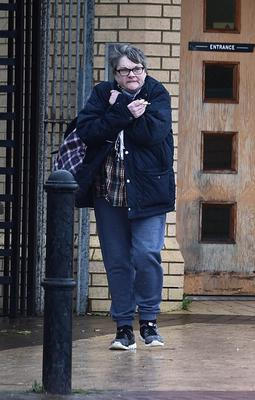 Sentenced: Denise Gray leaving Antrim Courthouse yesterday