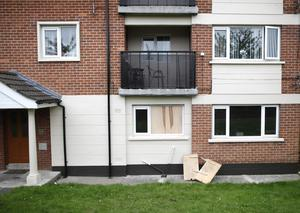 Fire damage to the east Belfast Rosewood Park flat. The alarm was raised by a pregnant resident