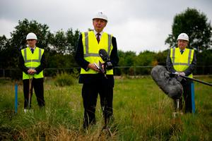 Sir Hugh Orde (centre) alongside Bryn Hughes (left), the father of Pc Nicola Hughes, and Paul Bone, the father of Pc Fiona Bone, during a groundbreaking ceremony for the new UK Police Memorial at the National Memorial Arboretum in Alrewas, Staffordshire, yesterday