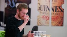 Beer taster Stephen Mulligan tests the quality