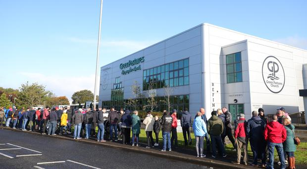 A protest outside Green Pastures Church in Ballymena yesterday by former Wrightbus employees