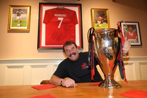 Davy with some of the memorabilia