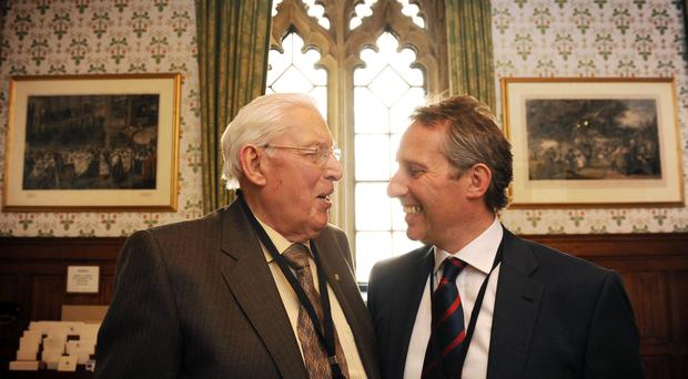 Ian Paisley, the former Northern Ireland first minister, with his son Ian Paisley Jnr (PA)