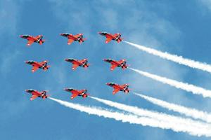 The Red Arrows fly in formation