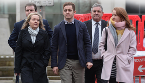 Ulster and Ireland rugby player Paddy Jackson arrives at Laganside Magistrates Court yesterday