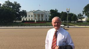 "Deputy First Minister Martin McGuinness outside the White House during his transatlantic trip, which has been branded a ""waste of time"" by the Democratic Unionists"