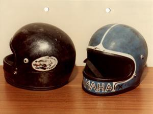 The helmets it is believed the bombers were wearing as they fled the scene.