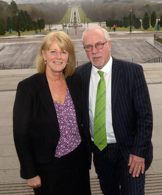 Colin and Wendy Parry, whose 12-year-old son Tim was killed by the IRA's Warrington bomb, seen on a recent visit to Stormont