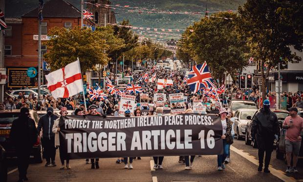An anti-protocol rally takes place on the Shankill Road in Belfast on June 10, 2021 (Photo by Kevin Scott for Belfast Telegraph)