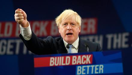 Prime Minister Boris Johnson at the Conservative Party Conference in Manchester where he delivered his keynote speech. Credit: Ian Forsyth/Getty Images