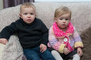 Lisa Scarlett's two youngest children, Caidenn (2) and Cealach (1)