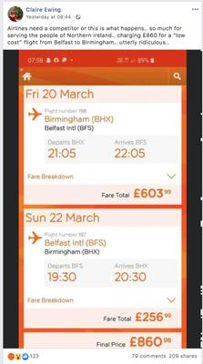 Claire's £860 EasyJet flight quote