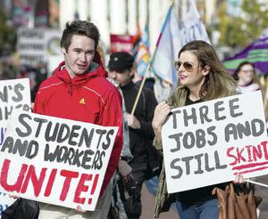 Students protest at the Britain Needs A Pay Rise rally held in Belfast on Saturday