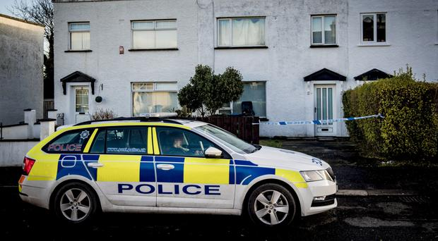 Police at the scene of a sudden death in the Fernagh Drive area of Newtownabbey
