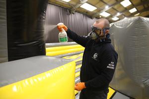 A deep clean takes place yesterday at the We Are Vertigo activity centre