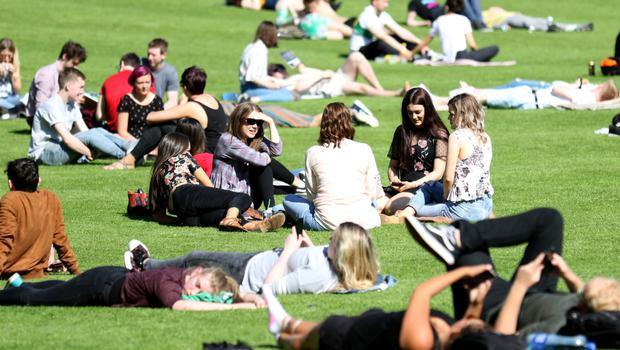 Hundreds of people enjoy the warm weather at Botanic gardens.  Pic by Peter Morrison