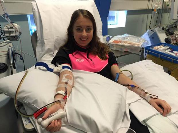 Grace McCullough donates stem cells at King's College Hospital in London