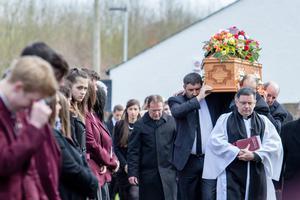 Friends and relatives at the funeral of John Irwin at St John's Parish Church, Middletown, Co Armagh