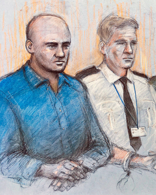 Testimony: A court sketch of Gheorghe Nica in the dock
