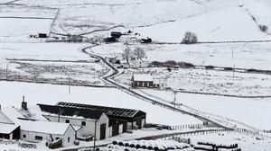 Fresh snow covers Teesdale in County Durham