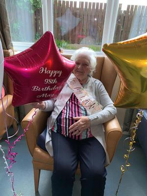 Mary May celebrates her 98th birthday at Rosemount Care Home