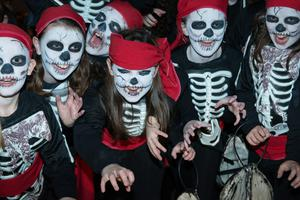 Members of St Anne's Guides from Faughanvale who took part in Derry City Council's annual Banks of the Foyle Halloween