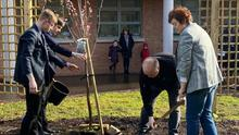 Lauren Bullock's parents, Martin and Mary, planting a cherry blossom tree at St Patrick's College for the victims