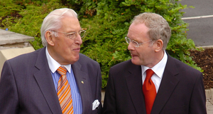 Martin McGuinness with Ian Paisley at the North-South Ministerial Council meeting in 2007