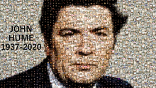 The mosaic of John Hume from pictures of candles lit in his memory