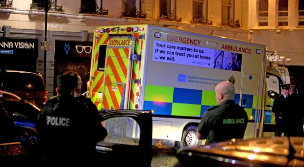 Emergency services at the scene of a suspected car bomb attack in Bishop Street in Londonderry (Steven McAuley/PA)