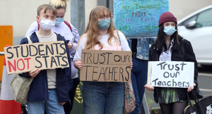 Students protest against grading system outside the Education Authority in Belfast yesterday