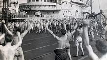 Sailors on HMS Formidable, which saw action in the Battle of Okinawa, exercising