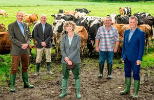 Expansion: From left: John Hood, director of Food and Tourism with Invest NI; Bryan Boggs, general manager of Clandeboye Estate Yogurt; Lady Dufferin; Clandeboye Estate manager Mark Logan; and Mark Bleakney, Southern Regional manager of Invest NI