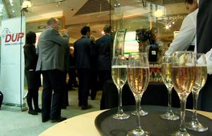 Visitors at the reception could help themselves to a fizzy alcoholic drink and a plate of champ