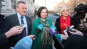 Conor Murphy, Mary Lou McDonald and Michelle O'Neill arrive at Government Buildings in Dublin (Niall Carson/PA)