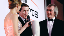 King of the track: Tony McCoy receiving his Belfast Telegraph award from Pat Jennings