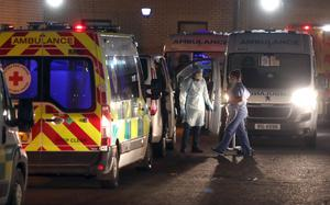 Under pressure: Rows of ambulances outside Antrim Area Hospital